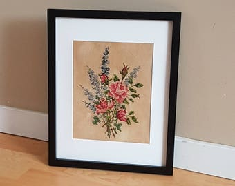 Roses and Delphiniums (completed cross-stitch in frame)