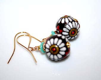 Decorated ceramic beads earrings