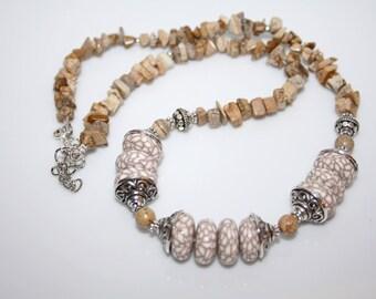 Beige-cream tone polymer clay and Jasper necklace