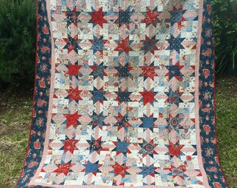 Bed Size Floral Quilt - Queen Bed Quilt - Red White and Blue Quilt - Handmade Star Quilt