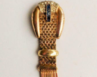 1940s Kreisler Pat. Pending Sapphire and Clear Rhinestones Buckle Style Fur Clip