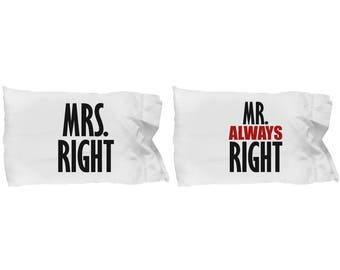 Mrs Right and Mr Always Right Funny Pillowcases (SET of 2) Gift Matching Set Couple Love Sarcastic