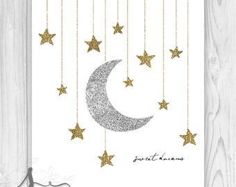 Gender Neutral Sweet Dreams Nursery Art, Sweet Dreams Bedroom Decor, Neutral Sweet Dreams Art, Neutral Art, Moon & Stars Nursery Art Poster