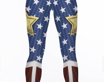 Wonder Woman Leggings. Justice League Stretch Workout Leggings / Fitness Tights / Dance Pants. Wonder Woman Yoga Pants.