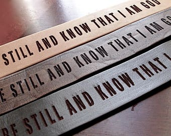 Be Still and Know... Natural Men's Daily Reminder Leather Cuff