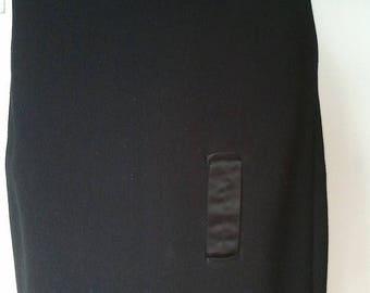 ON SALE Vintage 1950 50s black wool pencil skirt pin up cute silk ribbon detail S