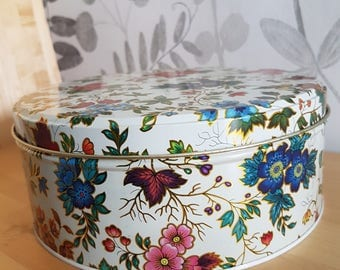Lovely vintage floral metal  tin from England