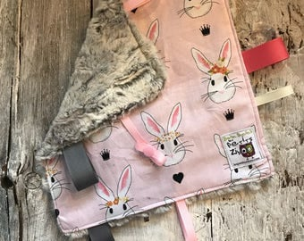Baby Little toy blanket, pink rabbits,  blankie. ribbons blanket. Fake fur on the back side