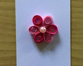 Pink Two Tone Quilled Flower Bookmark for reading