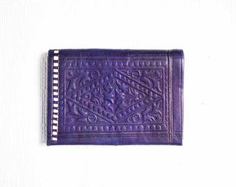 70s Tooled Leather Purse in Blue  -  Moroccan Style Vintage Wallet  -  Real Leather  -  Tooled  -  Hippy  - Purple Leather Purse Wallet