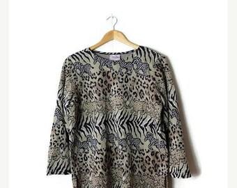 ON SALE Vintage Zebra x Cheetah  Safari  Printed  Long sleeve T-shirt /Blouse from 80's*