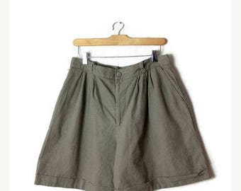 ON SALE Vintage Pale Olive Green Linen Blends High Waist Flare Shorts from 80's/W29*