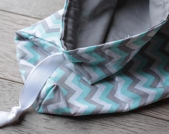 Aqua, Grey, and White Chevron Travel Laundry Bag