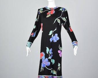 SALE Small Leonard Paris Silk Jersey Dress Long Sleeve Silk Dress Floral Print Day Dress 1980s Designer Dress 80s Casual Dress Vintage