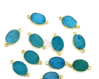 Gold Electroplated Light Sea Blue Druzy Connector, 12x16mm Oval Shape Druzy Gemstone Connector  GemMartUSA (GEB-11147)