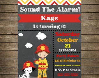 Fireman Invitation Etsy