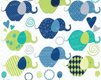 80% OFF SALE Elephants clipart commercial use, vector graphics, digital clip art, digital images  - CL386