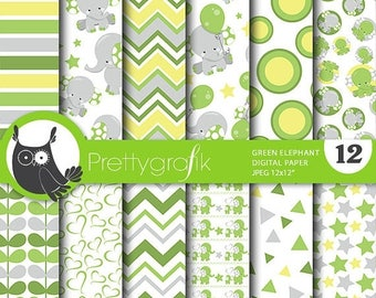 80% OFF SALE Green elephant digital papers, baby shower commercial use, elephant scrapbook papers, baby room background  - PS806