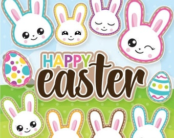 80% OFF SALE Easter bunny clipart commercial use, easter bunny vector graphics, easter digital clip art, digital images  - CL1070
