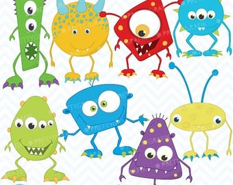 80% OFF SALE monster clipart commercial use, vector graphics, digital clip art, digital images - CL391