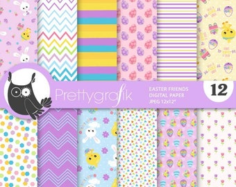 80% 0FF SALE Easter friends digital paper, commercial use, scrapbook papers, background, polka dots, stripes - PS910