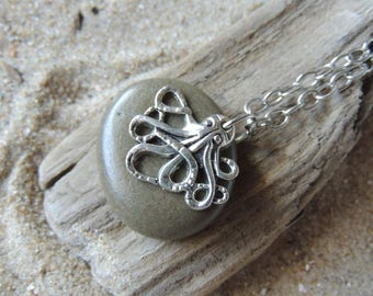 Handmade Natural Beach Stone Necklace with Silver Octopus Charm on Chain