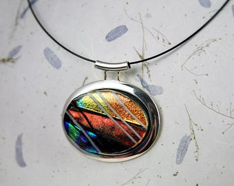 Regency in orange. Unique fused glass pendant. One of a kind.