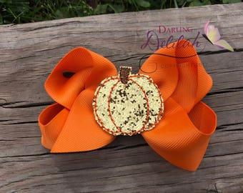 Golden Pumpkin Hair Bow