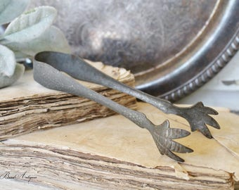 Vintage Tongs Claw Fork Sugar Ice Farmhouse Decor Fixer Upper Style