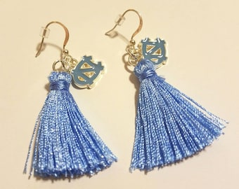 University of North Carolina Tarheels Earrings, UNC, Blue Tassel Earrings with Blue UNC Logo