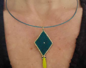 """""""Blue kite"""" Choker necklace beads beadwoven uniquely well! MAPERLE"""