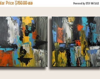 ON SALE Set of 2 Original Abstract Painting on Canvas Ready to Hang Orange Yellow Grey Blue Black Modern Art