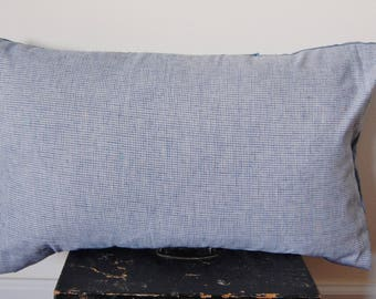 Shades of Blue and White Throw Pillow Pattern Print Handmade / Featherdown Insert 24 x 16 INCH