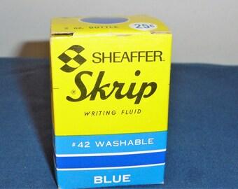 Vintage #42 Blue Skrip Ink bottle with ink in original box