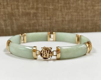 Vintage 14 K Yellow Gold And Green Jade Women's Bracelet!!!
