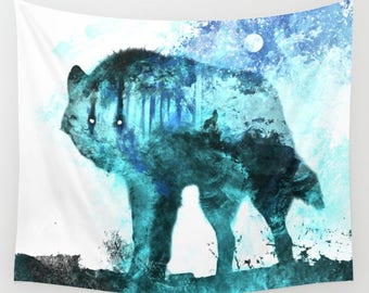 Wolf Tapestry | Wolves Tapestry | Wolf Art | Lunar Tapestry | Magical Tapestry | Hippie Tapestry | Space Tapestry | Galaxy Tapestry