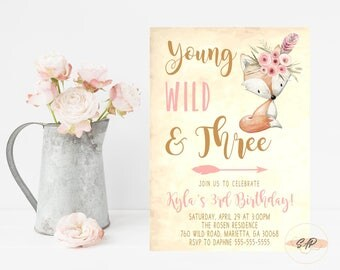 Young Wild and Three Invitations - Tribal Birthday Invitation - Tribal Woodland Birthday Invitation - Birthday Invitations for Girls - Arrow