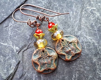 Forest woodland Green Man earrings.