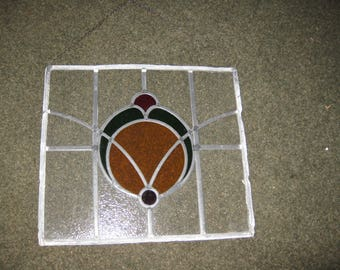 """STAINED GLASS PANEL Leaded Glass Suncatcher Panel 16 1/2' x 18"""" Textured Clear Glass Red Green Amber Middle"""