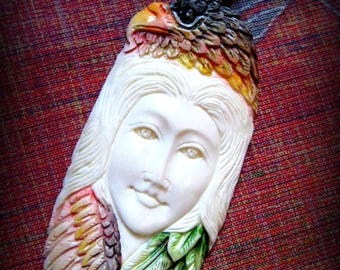 CIJ Vintage Expertly  Hand Carved Native American Bone and Sterling Eagle Goddess Totem Focal Bead