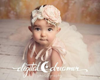 Peach, pink, champange Couture Baby girl headbands, peach couture, vintage headband, baby pink champange headband, Photo prop