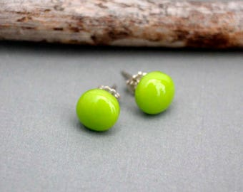 Green Post Earrings - Glass Stud Earrings - Sterling Silver Post Earrings - Retro Stud Earrings - Green Glass Earrings - Green Stud Earrings