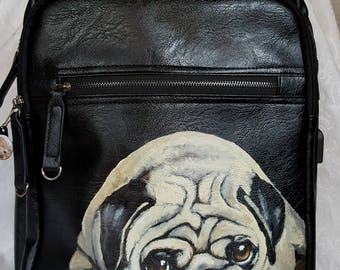 Leather Backpack with USB Charging Port Painted with YOUR Pet's Portrait