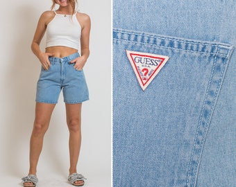 GUESS High Waisted 90s Mom Jeans 1990s VTG Guess Blue Denim SHORTS