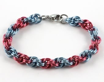 Spiral Chainmaille Bracelet | Hand Crafted Chainmaille Jewelry | Handmade Bracelet | Pink and Light Blue | Anodized Aluminum