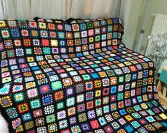 Crochet Afghan Blanket Granny Square Blanket Baby Blanket Baby Shower Gift Sofa Throw Choose Your Size Made to Order