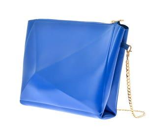 Blue clutch bag / medusa clutch bag / vinyl blue clutch bag /