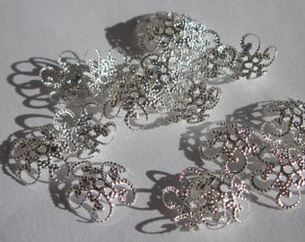 20 soft cups for 12 mm silver metal beads (2057)