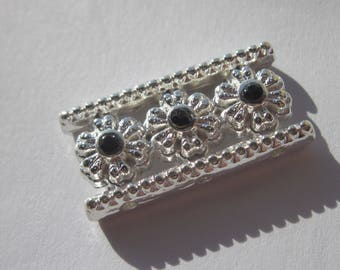 Insert rectangular silver metal with Rhinestone 13 x 26 mm (C3)