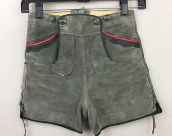 Vintage 60s 70s LEDERHOSEN Gray Suede Leather Shorts XS or Youth